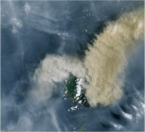 LandSat satellite image showing volcano eruption from space